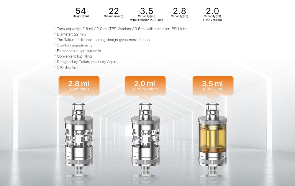 nautilus gt mini tank by aspire taifun 5