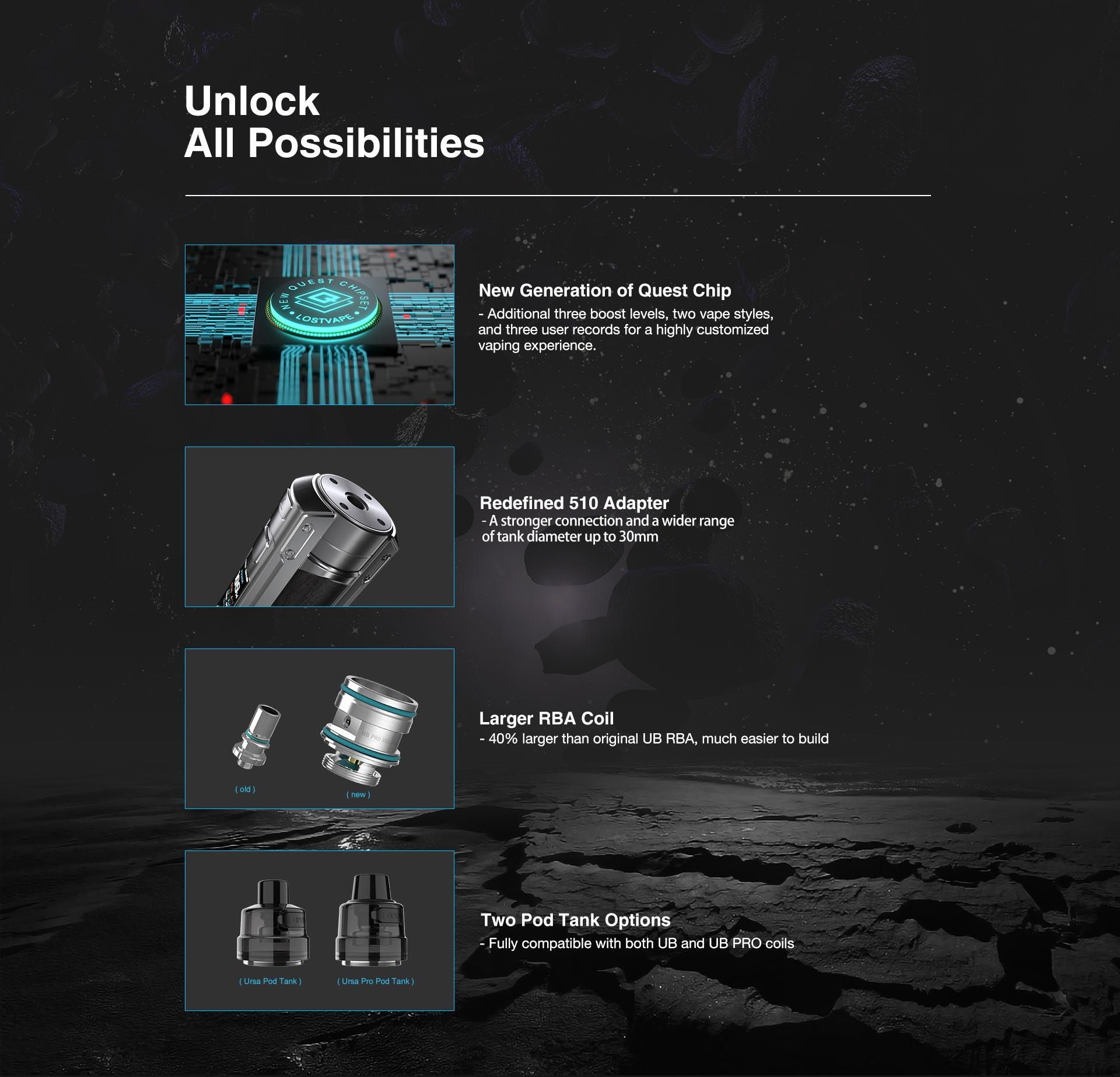 ursa quest multi kit 100w by lost vape 7 Lost Vape Multi Kit Ursa Quest Xsmokers